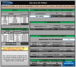 Planilha Excel calculo de férias Grátis
