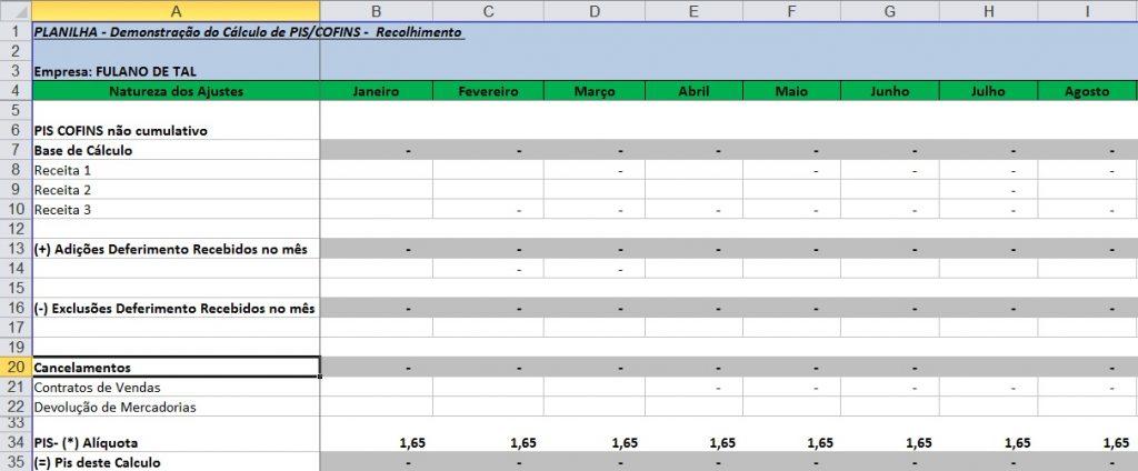 Planilha apuração de PIS e COFINS grátis